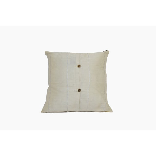 Image of Ivory Striped Raw Silk Square Pillow Cover