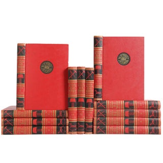 Mid-Century Red & Black Reference Books - Set of 12