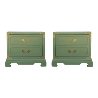 Chinoiserie Campaign Green Nightstands - Pair