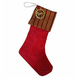 Custom Made Brass Medallion Christmas Stocking
