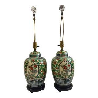 Vintage Porcelain Ginger Jar Table Lamps - A Pair