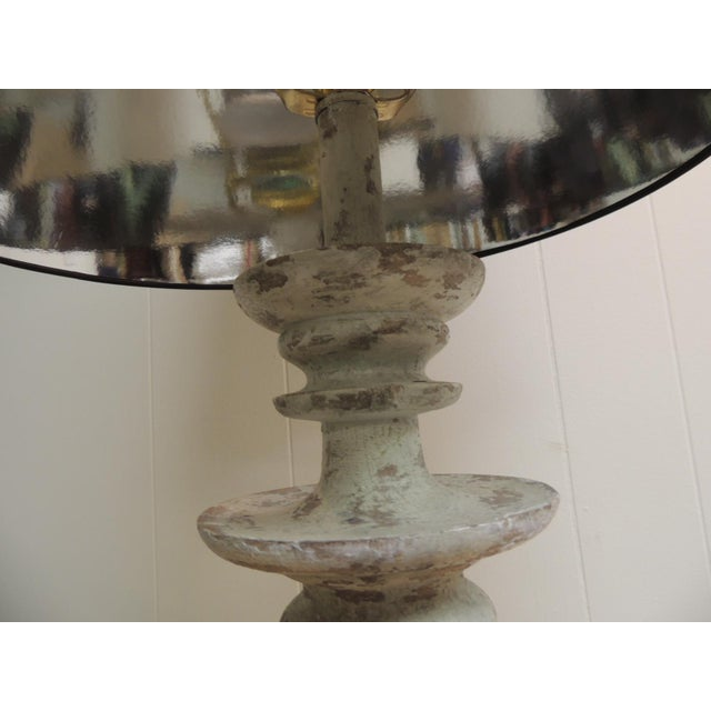 Image of Vintage Wooden Painted Table Lamp & Shade
