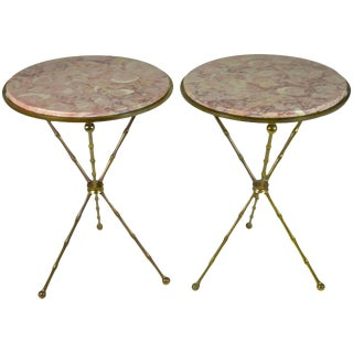 Brass Faux Bamboo and Marble Gueridon Tables - A Pair