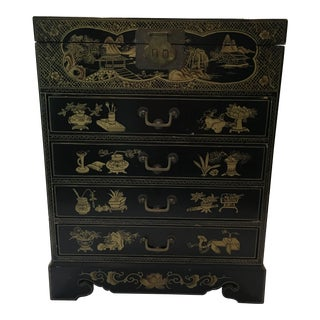 Enameled Asian Jewelry Chest