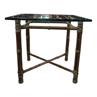 McGuire Rattan and Rawhide Wrapped Side Table