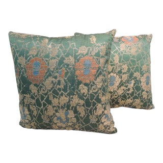 Pair of Antique Italian Silk Brocade Decorative Pillows