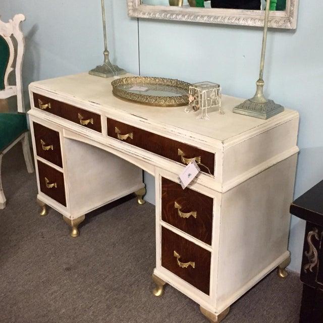 Image of Tiger Wood Two-Tone Vanity Desk