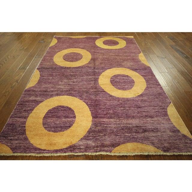 "Modern Purple Gabbeh Area Rug - 5'7"" x 8'2"" - Image 3 of 10"