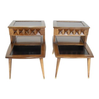 Thomasville Mid-Century Modern Two Tiered Nightstands- a Pair