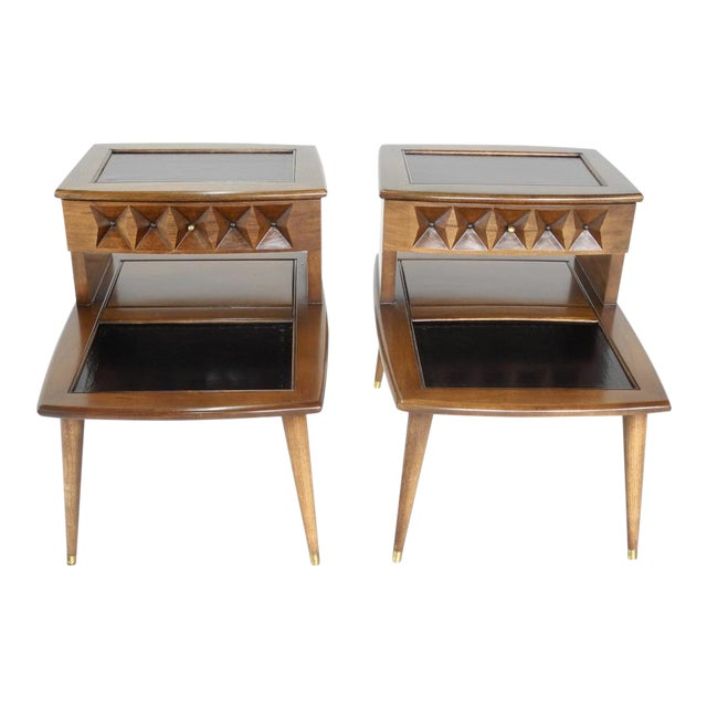 Thomasville Mid-Century Modern Two Tiered End Tables- A