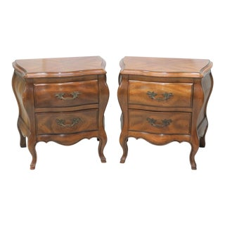 John Widdicomb French Style Bombe Nightstands - A Pair