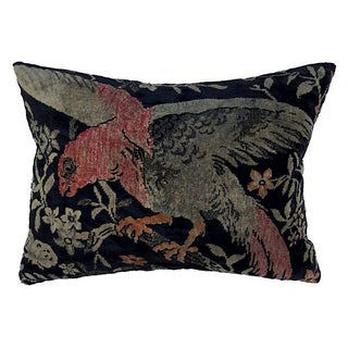 Antique Velvet Floral Textile Pillow W/ Parrot