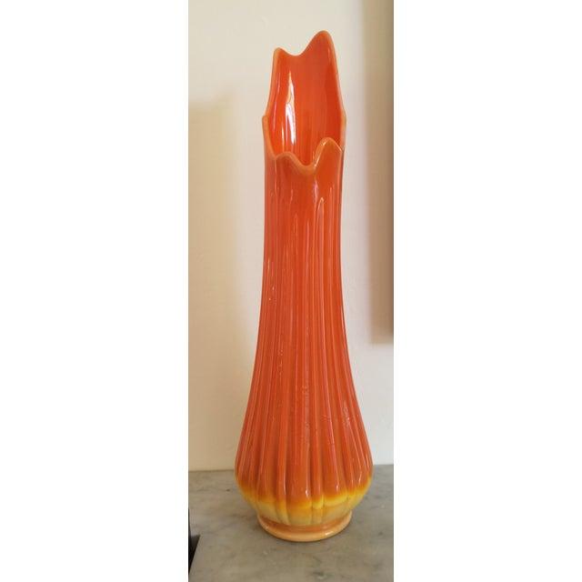 Mid-Century Orange Ribbed Slung Glass Viking Vase - Image 2 of 11