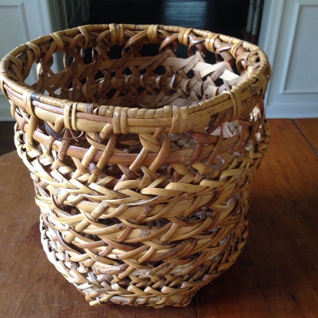 Large Vintage Rattan Planter Basket - Image 10 of 11