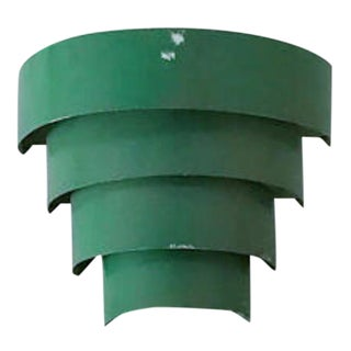 Vintage Tiered Green Metal Wall Sconce Light