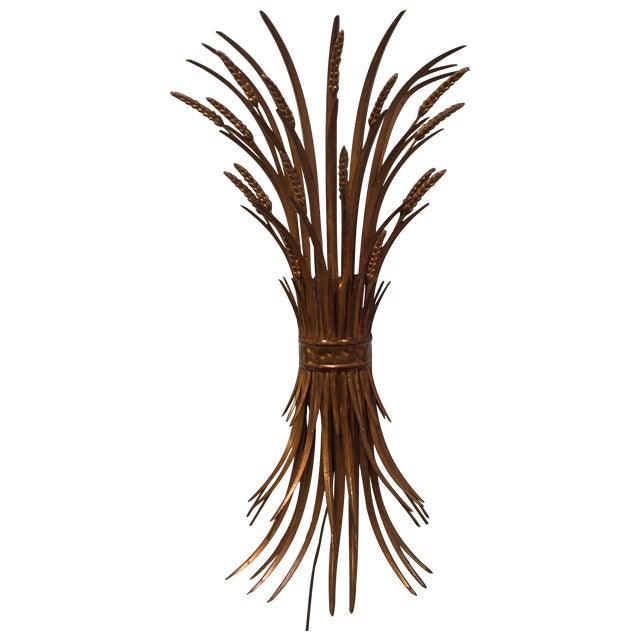 Vintage Gold Gilt Wheat Sheaf Wall Sconce - Image 1 of 7