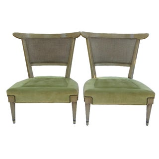 Mid-Century Cane & Velvet Slipper Chairs - A Pair