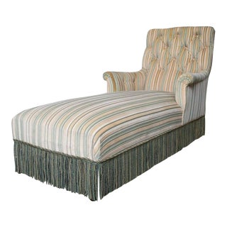 French 19th C. Napoleon III Chaise Lounge in Striped Fabric