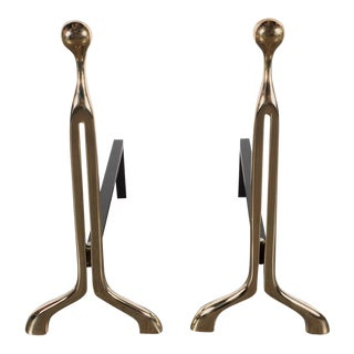 Pair of Custom Mid-Century Modernist Style Polished Brass Caliber Andirons