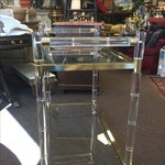Image of Charles Hollis Style Faux Bamboo Lucite Bar Cart