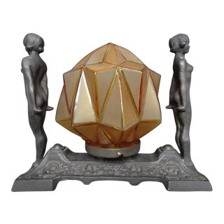 Art Deco Metal Figural Table Lamp with Geometric Glass Shade