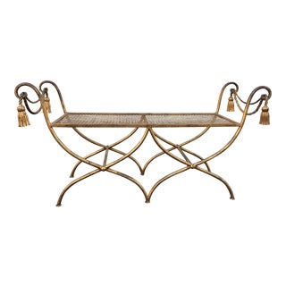 Italian Gilt Metal Rope and Tassel Double X Base Bench