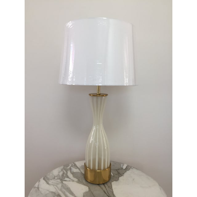 Italian Modern Glass and Brass Table Lamp - Image 7 of 8