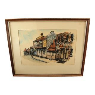 Outline of City Architecture Watercolor Over Stereograph Print
