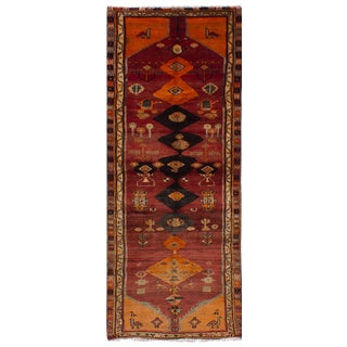 "Vintage Persian Tribal Abstract Design Runner Rug, 1970s - 42"" x 108"""
