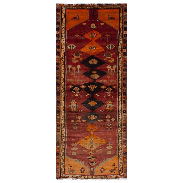 """Vintage Persian Tribal Abstract Design Runner Rug, 1970s - 42"""" x 108"""" - Image 1 of 3"""