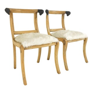 French Ram Heads Ivory Cowhide Side Chairs - a Pair