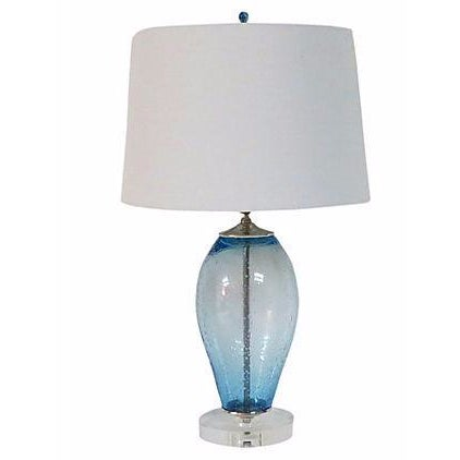 Ocean Blue Bubble Glass Lamp - Image 1 of 3