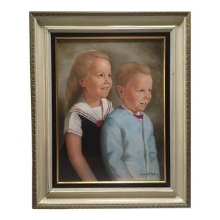 Mid-Century Pastel Two Kids Portrait