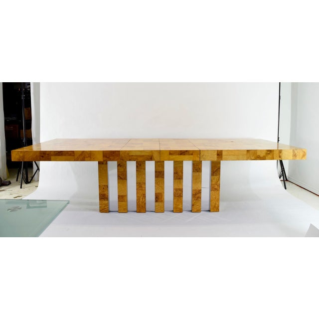 Paul Evans Burl Wood and Chrome Cityscape Dining Table - Image 4 of 10