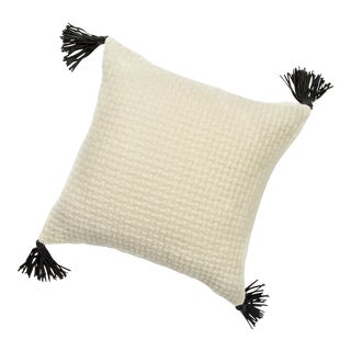 White Woven Throw Pillow With Tassels