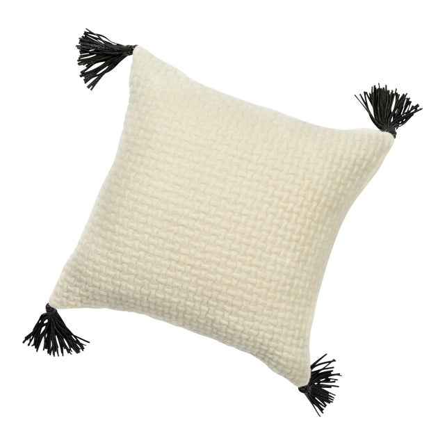 Throw Pillows With Tassels : White Woven Throw Pillow With Tassels Chairish