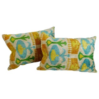 Silk Velvet Ikat Pillows- a Pair