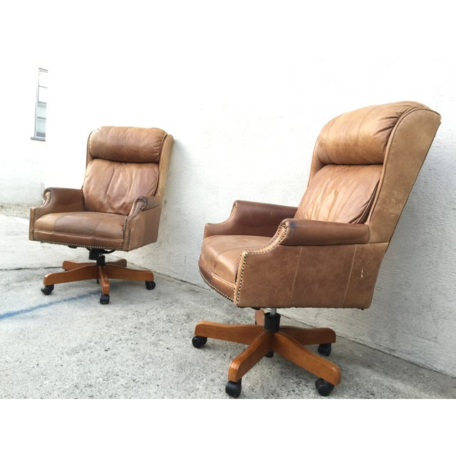 Mid-Century Italian Leather Chairs - Pair - Image 9 of 11