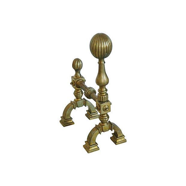 Antique English Brass Andirons - A Pair - Image 7 of 7