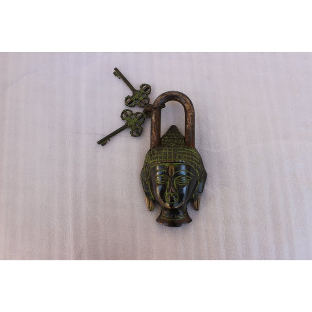 Tibetan Buddha Head Bronze Mystery Lock - Image 2 of 6