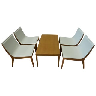White Italian Leather Chairs & Maple Coffee Table - Set of 5