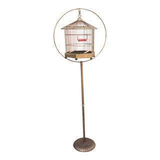 Vintage Brass Birdcage & Stand