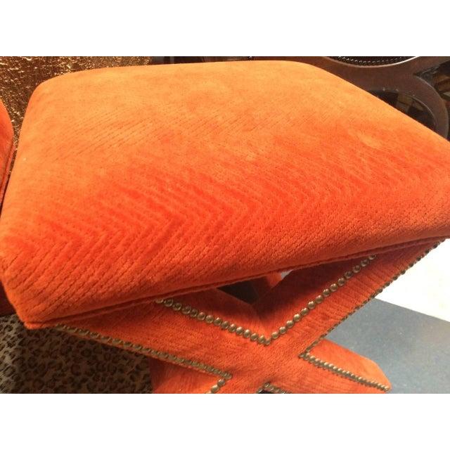 Orange Velvet X-Leg Ottomans- A Pair - Image 2 of 2