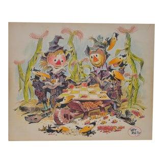 "Art Riley Original Cartoon ""Checkers"" Painting c.1960s"