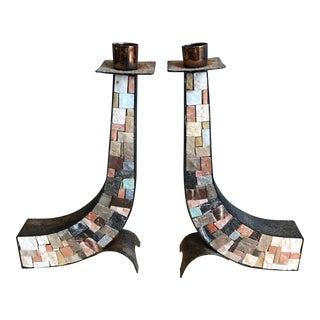 Stone & Copper Mosaic Shabbat Candlesticks - A Pair