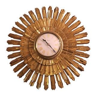 Mid Century Syroco Gold Sunburst Wall Clock