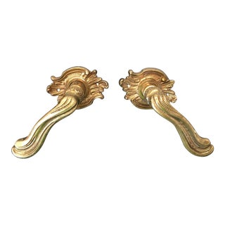 Vintage French Louis XV Style Brass Lever Door Handles - a Pair