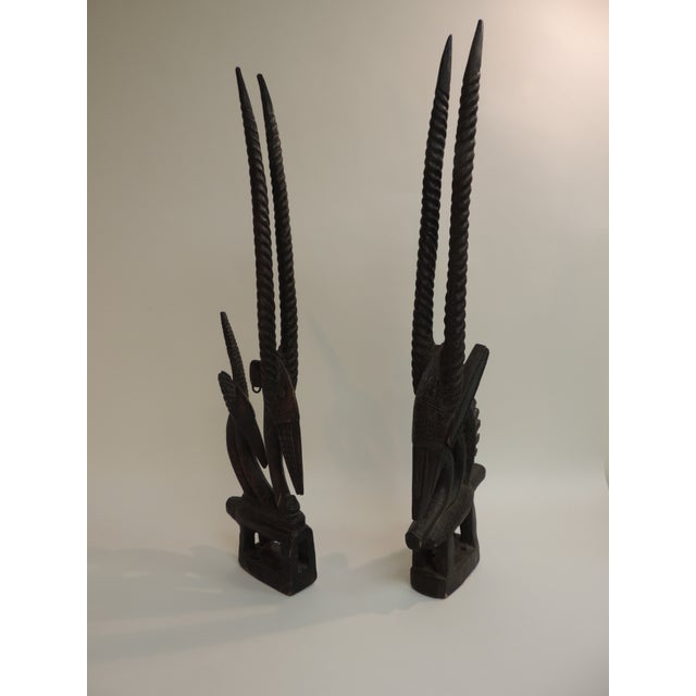"""African """"Chiwara Head Dress Carved Sculptures - a Pair - Image 3 of 6"""