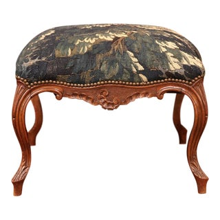 18th Century French Louis XV Walnut Square Stool With Aubusson Tapestry