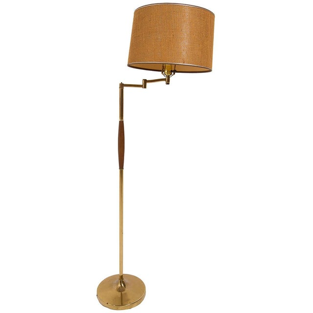 Image of Brass MCM Floor Lamp With Wood Detail